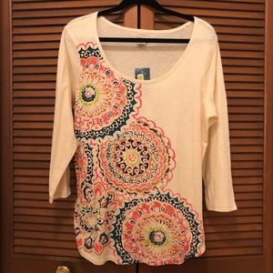 NEW Lucky Brand cream graphic print tee XL